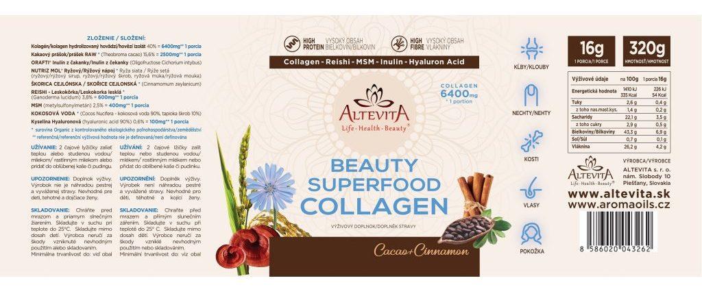 Zloženie Altevita Superfood beauty collagen 320g
